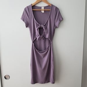 May Pink Lavender Tie Front Summer Dress